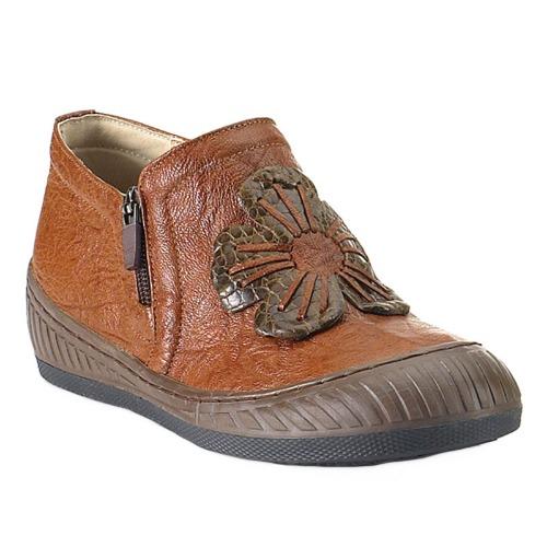 75aed19778a 천연가죽 플랫굽 꽃패치 편한 앵글부츠 맞춤수제화 여성 구두 신발 FDT7911